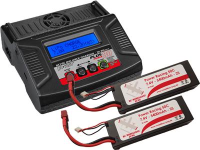 Modellbau Akku Lipo ~ Einsteigerpaket lipolader 80w 2x akku 2s 5400mah lipo